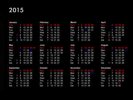 Year 2015 UK calendar with public and bank holidays, national holidays in red, local holidays in blue photo