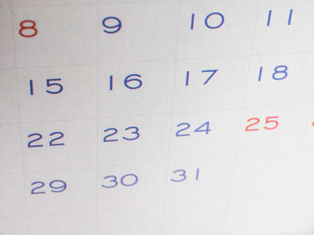 almanac: Detail of a calendar page with dates Stock Photo