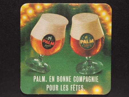 belgie: BRUSSELS, BELGIUM - DECEMBER 11, 2014: Beermat of Belgian beer Palm Editorial