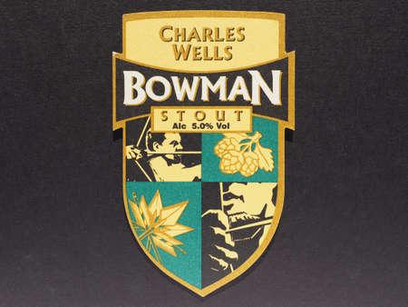 wells: LONDON, UK - DECEMBER 11, 2014: Beermat of British beer Charles Wells Bowman Stout Editorial