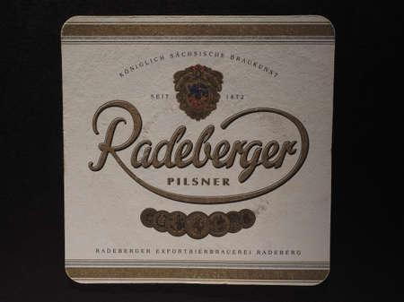 pilsner: BERLIN, GERMANY - DECEMBER 11, 2014: Beermat of German beer Radeberger pilsner Editorial