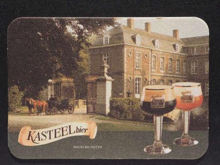 belgie: BRUSSELS, BELGIUM - DECEMBER 11, 2014: Beermat of Belgian beer Kasteel Editorial