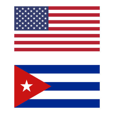 cuban flag: Flag of the USA and Cuba