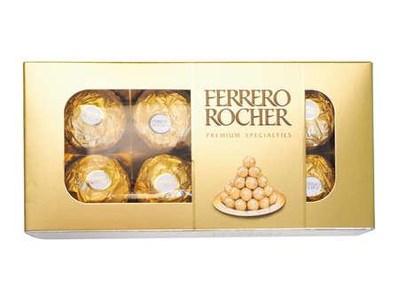 ferrero: ALBA, ITALY - DECEMBER 15, 2014: Ferrero Rocher premium specialties chocolate