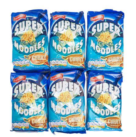 british cuisine: LONDON, UK - DECEMBER 15, 2014: Batchelors Super Noodles curry flavour