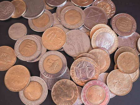 withdrawn: Vintage Italian Liras coins withdrawn since the introduction of Euro