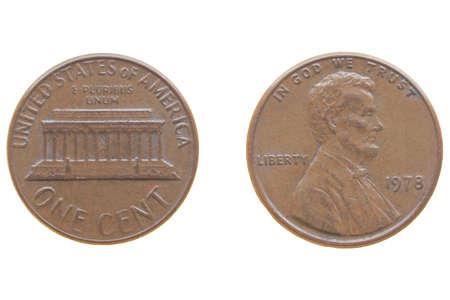 Ein Euro Cent Ein Dollar Cent Ein Penny Münzen Isoliert
