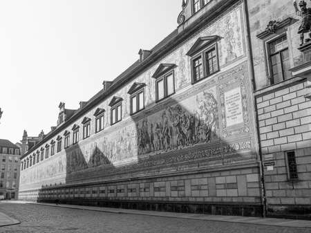 procession: Fuerstenzug meaning Procession of Princes, large mural of a mounted procession of the rulers of Saxony painted in 1871 in Dresden, Germany in black and white Editorial