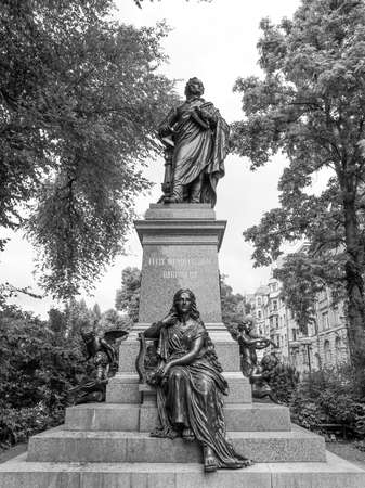 ludwig: The Mendelssohn Denkmal monument to German musician Jakob Ludwig Felix Mendelssohn Bartholdy was designed by Werner Stein in 1892 in Leipzig Germany in black and white Editorial
