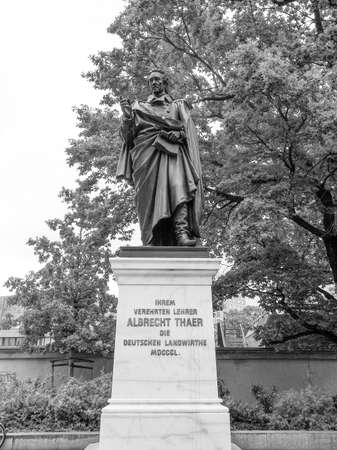 agronomist: Monument to German agronomist Albrecht Thaer in Leipzig Germany in black and white Editorial