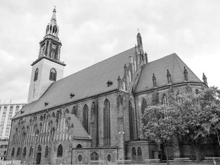 st german: Marienkirche St Mary church in Berlin Germany in black and white