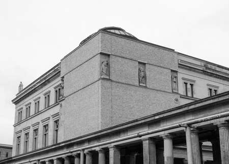 neues: Neues Museum in Museumsinsel in Berlin Germany in black and white