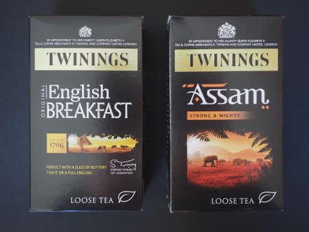 assam tea: LONDON, UK - JANUARY 6, 2015: Twinings English breakfast and Assam loose tea