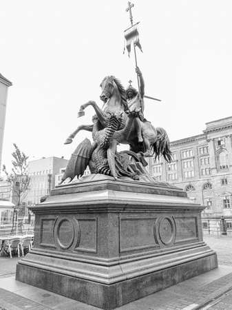 st german: St Georgs Denkmals Saint George monument in Berlin Germany designed in 1855 by German sculpture August Kiss in black and white
