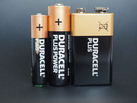 9v battery: NEW YORK, USA - JANUARY 10, 2015: Duracell AAA, AA and 9V batteries