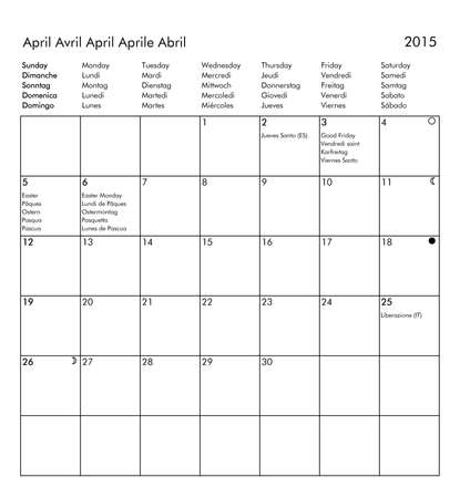 multilingual: European multilingual calendar 2015 in English French German Italian Spanish with public holidays and bank holidays for all countries and moon phases - April Stock Photo