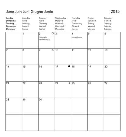 European multilingual calendar 2015 in English French German Italian Spanish with public holidays and bank holidays for all countries and moon phases - June photo