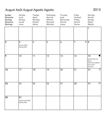 multilingual: European multilingual calendar 2015 in English French German Italian Spanish with public holidays and bank holidays for all countries and moon phases - August Stock Photo