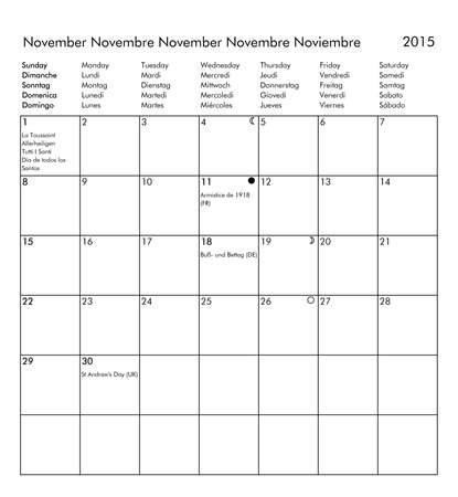 moon phases: European multilingual calendar 2015 in English French German Italian Spanish with public holidays and bank holidays for all countries and moon phases - November Stock Photo