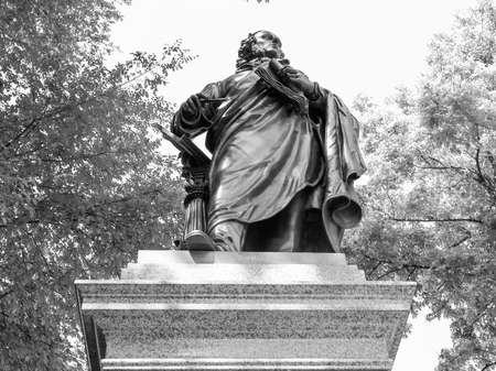 ludwig: The Mendelssohn Denkmal monument to German musician Jakob Ludwig Felix Mendelssohn Bartholdy was designed by Werner Stein in 1892 in Leipzig Germany in black and white Stock Photo