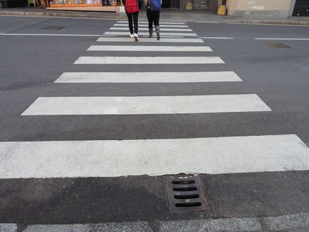 zebra crossing: Zebra crossing sign at pedestrian crossroad Stock Photo