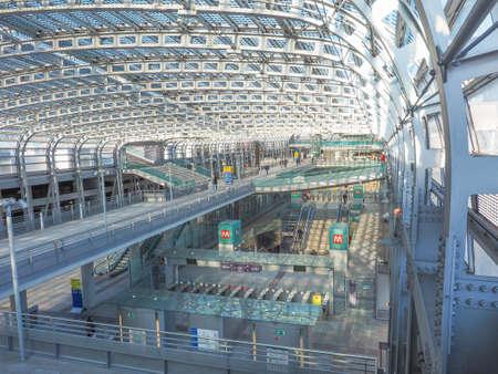 railway: TURIN, ITALY - JANUARY 23, 2015: Passengers in the new Torino Porta Susa main railway and subway station