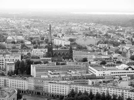 Aerial view of the city of Leipzig in Germany in black and white