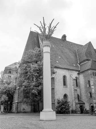 performed: Nikolaikirch St Nicholas Church in Leipzig Germany where Johann Sebastian Bach performed the world premiere of St John Passion in black and white