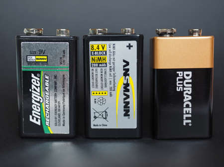 9v battery: BERLIN, GERMANY - JANUARY 10, 2015: Energizer, Ansmann and Duracell 9V batteries Editorial