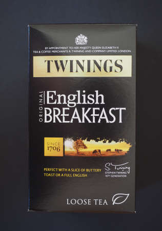 english breakfast tea: LONDON, UK - JANUARY 6, 2015: Twinings English breakfast loose tea