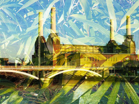 battersea: Battersea Power Station in London England UK - Double exposure with bamboo leaves Stock Photo