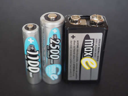 9v battery: BERLIN, GERMANY - JANUARY 10, 2015: Ansmann AAA, AA and 9V rechargeable batteries Editorial