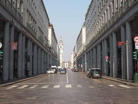 Roma: TURIN, ITALY - FEBRUARY 19, 2015: Via Roma is the main central high street in Turin