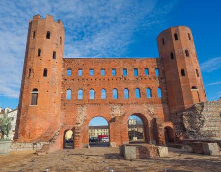 palatine: Palatine towers Porte Palatine ruins of ancient roman town gates in Turin Stock Photo