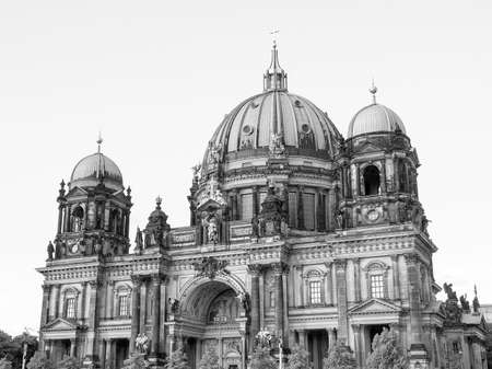 dom: Berliner Dom cathedral church in Berlin Germany in black and white Stock Photo