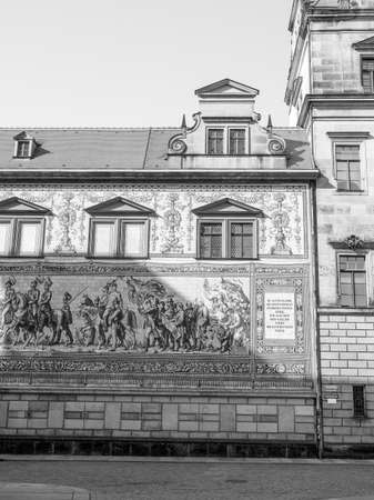 mounted: Fuerstenzug meaning Procession of Princes, large mural of a mounted procession of the rulers of Saxony painted in 1871 in Dresden, Germany in black and white Stock Photo