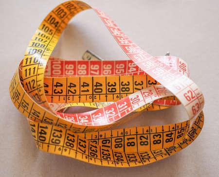 jib: Measuring tape flexible ruler ribbon for tailoring Stock Photo