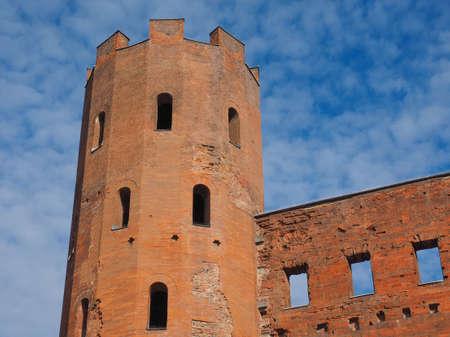 torri: Palatine towers Porte Palatine ruins of ancient roman town gates in Turin Stock Photo