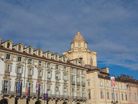 castello: Piazza Castello central baroque square in Turin Italy Editorial