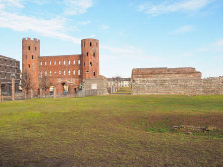 Palatine towers Porte Palatine ruins of ancient roman town gates and wall in Turin Reklamní fotografie