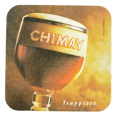 belgie: BRUSSELS, BELGIUM - MARCH 15, 2015: Beermat of Belgian trappiste beer Chimay isolated over white background