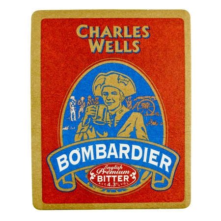 bombardier: LONDON, UK - MARCH 15, 2015: Beermat of British beer Bombardier isolated over white background Editorial