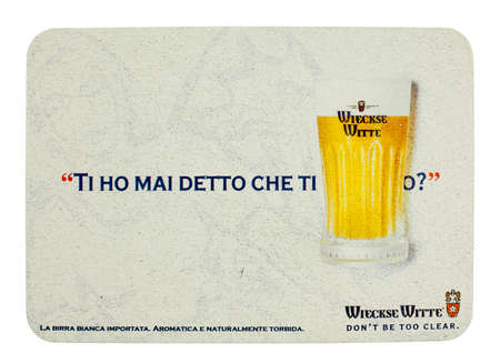 weiss: BRUSSELS, BELGIUM - MARCH 15, 2015: Beermat of Belgian weiss beer Wieckse Witte isolated over white background