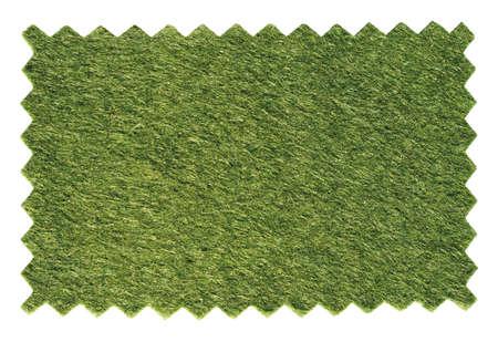 prato sintetico: Verde artificiale erba sintetica campione prato swatch Zig Zag tagliato con cesoie pinking forbici