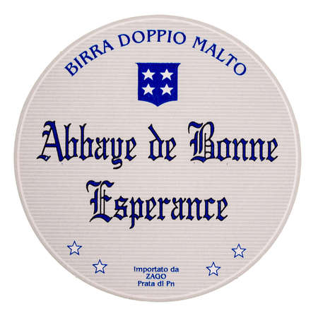 bonne: BRUSSELS, BELGIUM  DECEMBER - MARCH 15, 2015: Beermat of Belgian beer Abbaye de Bonne Esperance isolated over white background