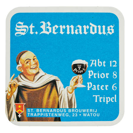 belgien: BRUSSELS, BELGIUM - MARCH 15, 2015: Beermat of Belgian beer St Bernardus isolated over white background