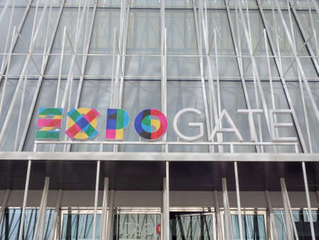 expo: MILAN, ITALY - MARCH 28, 2015: Expo Gate information centre in Milan as part of the Expo Milano 2015 international exhibition Editorial
