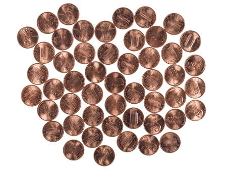 cent: Dollar coins 1 cent wheat penny cent currency of the United States isolated over white background