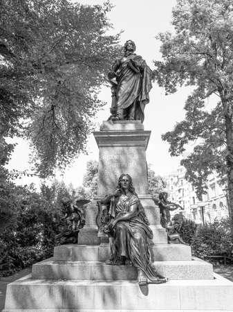 felix: The Mendelssohn Denkmal monument to German musician Jakob Ludwig Felix Mendelssohn Bartholdy was designed by Werner Stein in 1892 in Leipzig Germany in black and white Stock Photo