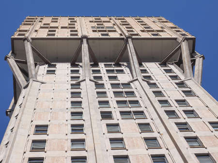 masterpiece: MILAN, ITALY - MARCH 28, 2015: The Torre Velasca designed in 1955 by BBPR is a masterpiece of Italian new brutalist architecture Editorial